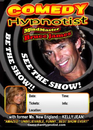 Bruce James Comedy Hypnotist with assistant former miss new england Kelly Jean performing at fundraising events, comedy clubs, corporate entertainment in the northeast or anywhere in the country 860-625-5347 booking...